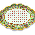 A lime-green ground famille-rose 'tea-poem' tray, jiaqing seal mark and period