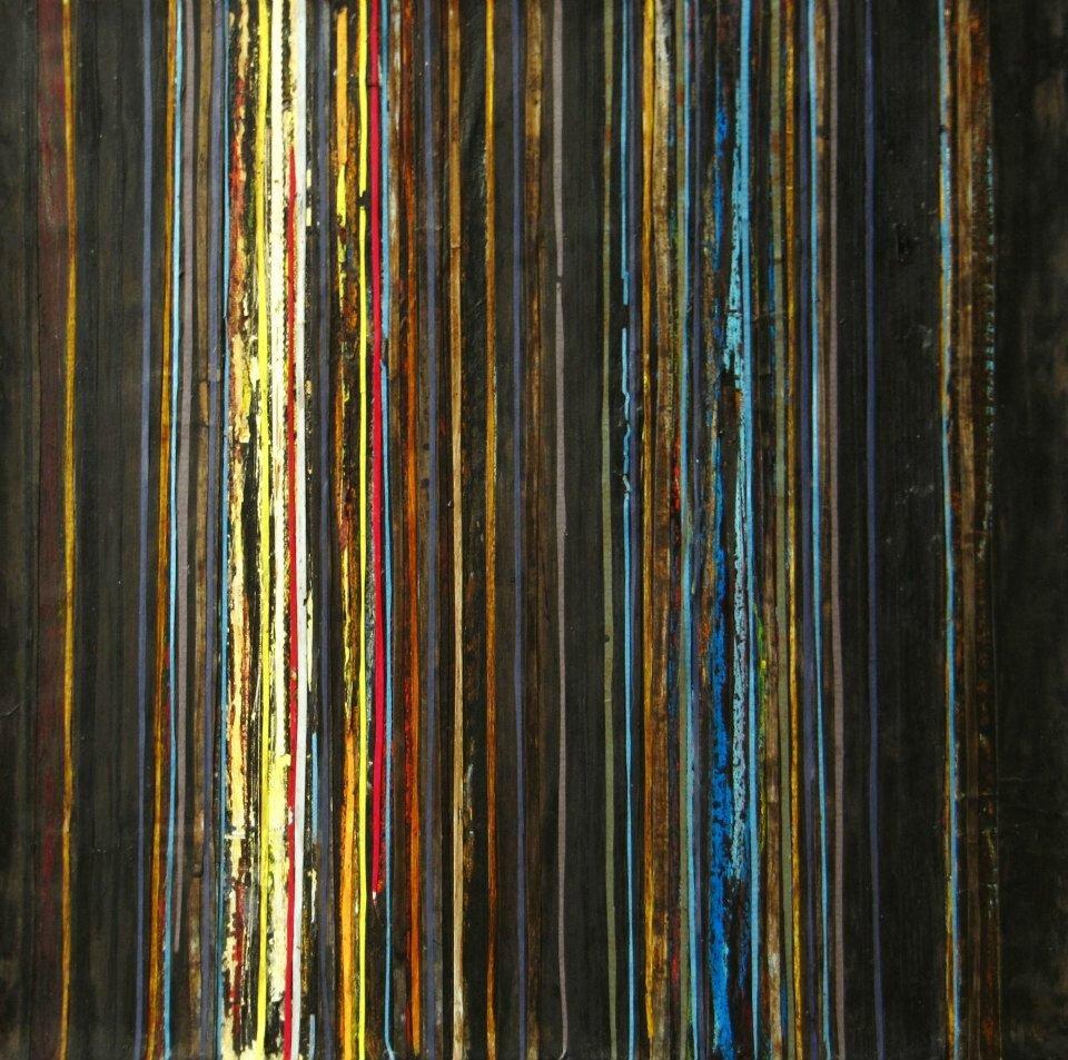 Forêt #42, 2011, acrylique, coulures et collages sur toile, 40 x 40 cm