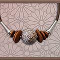 Collier maxi perle effet mosaïque cuivre