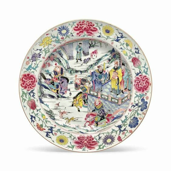 A very large famille rose dish, Yongzheng period (1723-35)