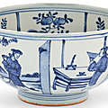 A chinese blue and white porcelain bowl, late ming dynasty (1368-1644)