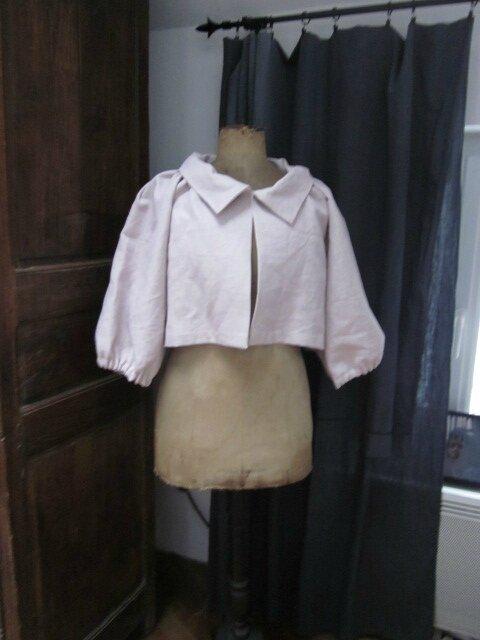 Veste Blanche en lin rose poudré (1)