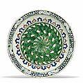 A large iznik pottery dish, ottoman turkey, circa 1590