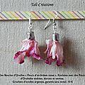 Boucles d'oreilles Fleurs d'Orchidée roses P