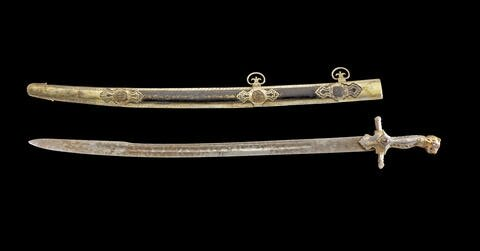 An important rare gem-set Sword with Tiger's head pommel from the Royal Regalia of Tipu Sultan, Seringapatam, circa 1787-93