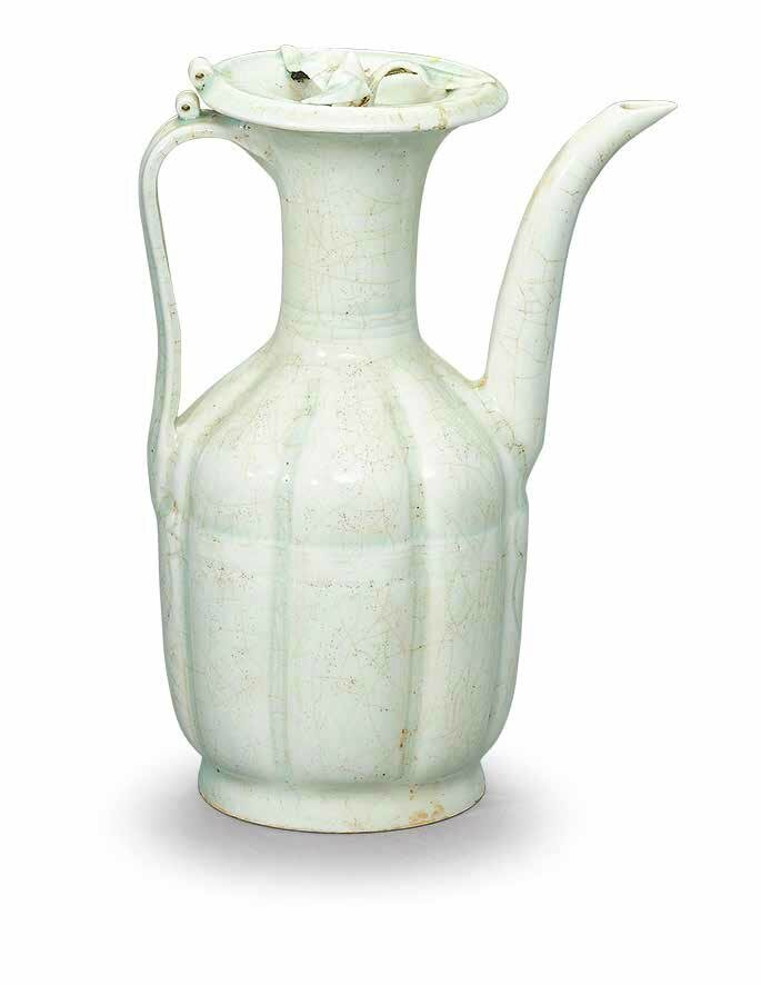 A Qingbai lobed ewer and cover, Song dynasty, 11th-12th century