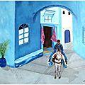 Dans les rues de Chefchaouen - Huile 46 x 38 - juin 2006