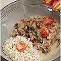 Une bonne blanquette de veau moutardée et aux asperges vertes......