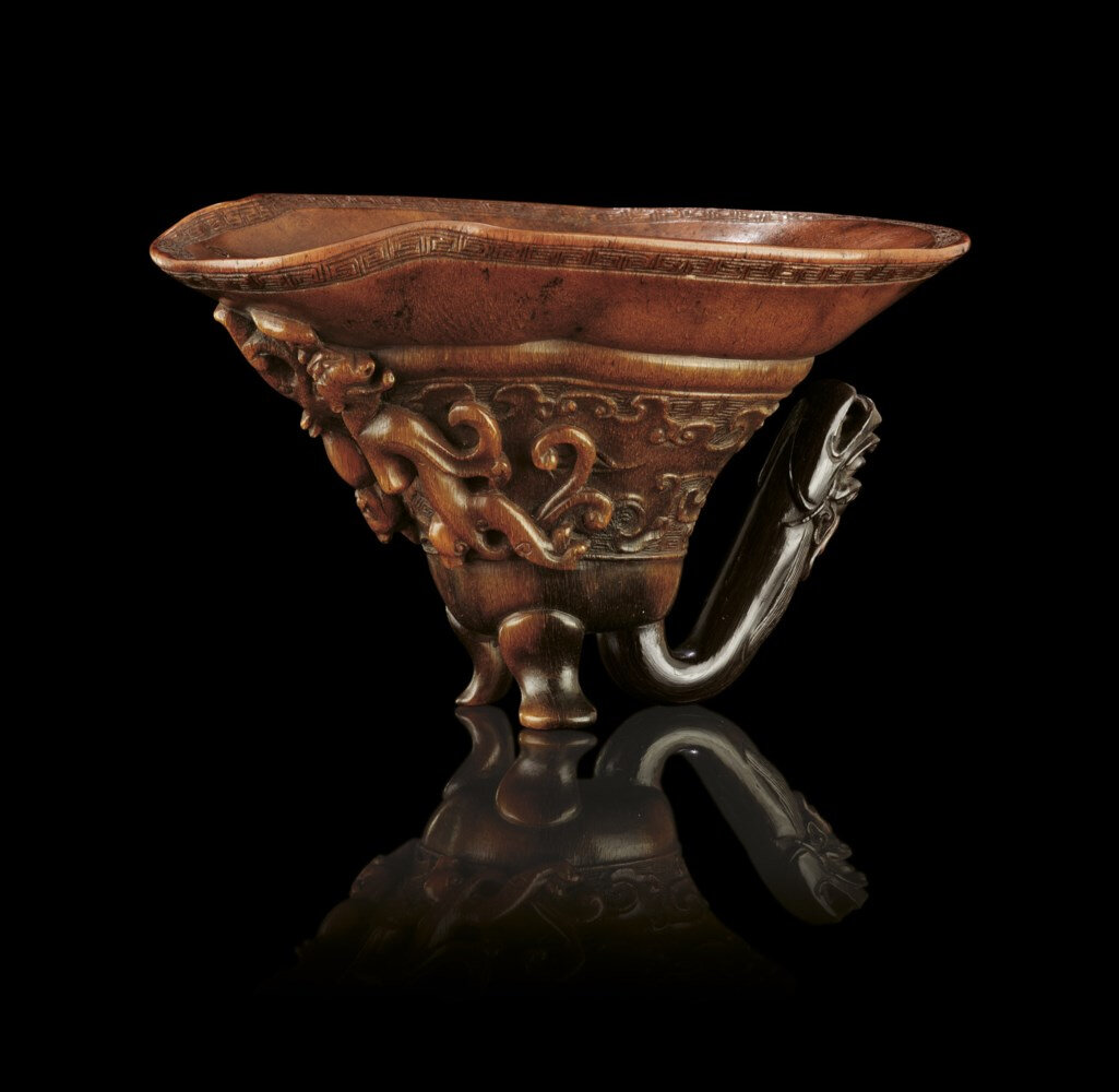 An extremely rare rhinoceros horn libation cup, Ming dynasty, 17th century