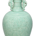 A large celadon-glazed moulded two-handled vase, late 18th century