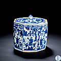 A blue and white 'scholars' octagonal box and cover, wanli period, 1573-1620