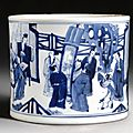 A blue and white 'four accomplishements' brushpot. qing dynasty, kangxi period