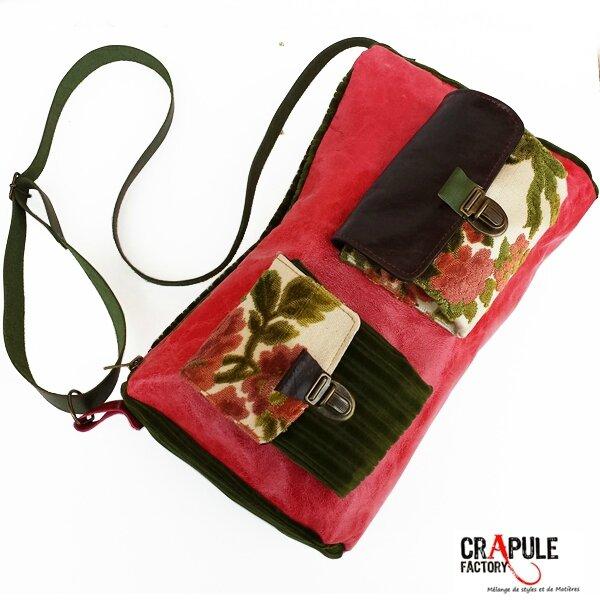 ORIOS sac de créateur Cuir original style retro en cuir velours et tapisserie fleur. 2 poches à soufflet à l'avant décalées.fermoir clip vieilli. Côtés en cuir beige grisé . poche intérieure. Bandoulière réglable cuir rivetée Ouverture