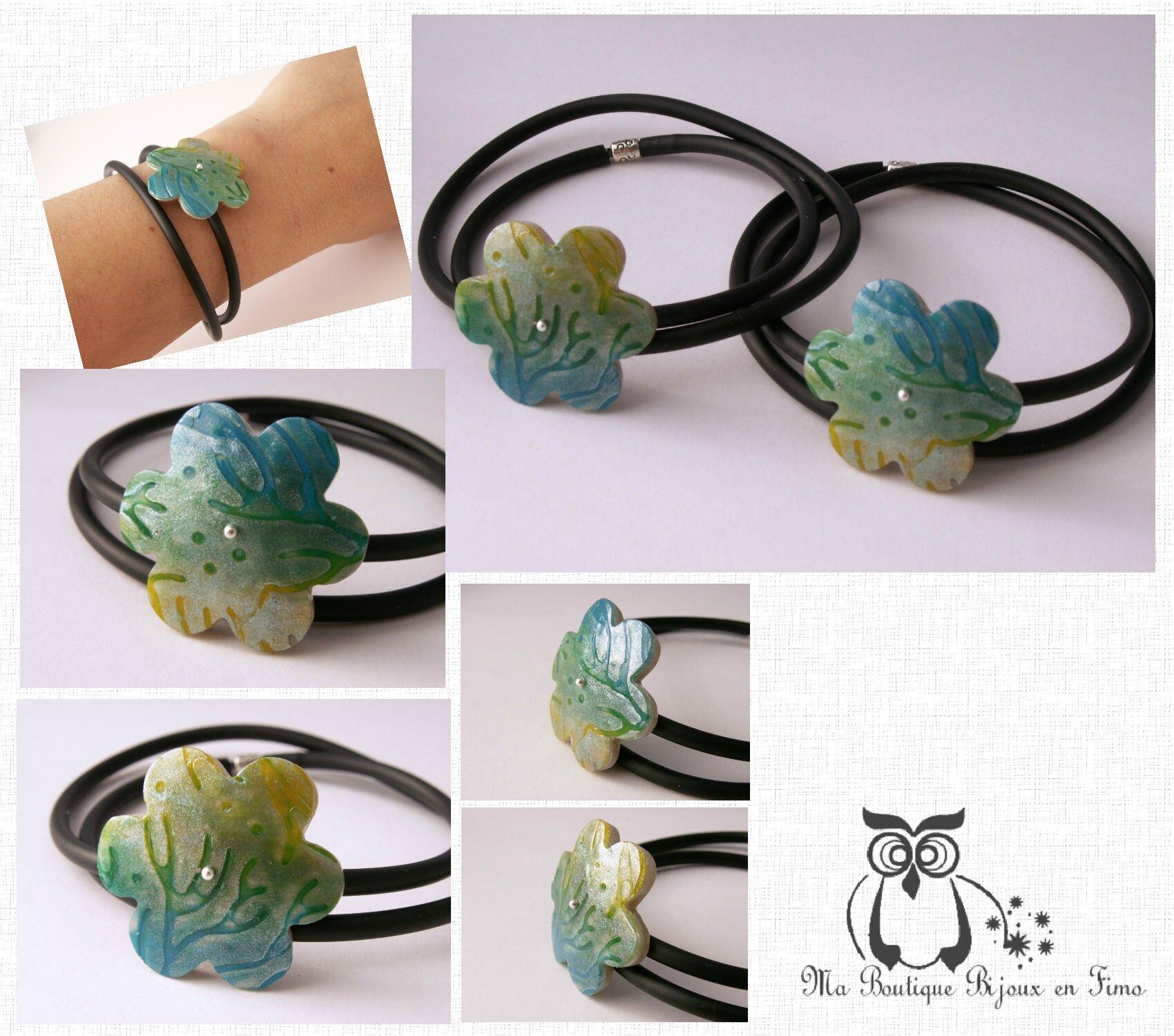 Bracelets buna double tour et fleur de corail turquoise