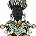 Nardi. a colored diamond, turquoise and cultured pearl blackamoor brooch