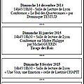 Nos rencontres pour 2014/2015