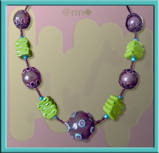 Collier Fimo chocolat turquoise Z vert (N)