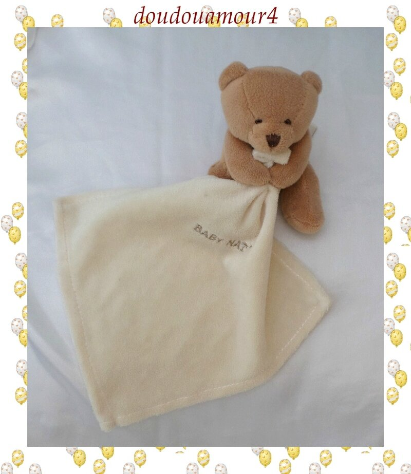 Doudou Peluche Mini Ours Assis Marron Mouchoir Ecru BabyNat