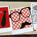 carte porte-billet masculine avec moustache, lunettes et cravate