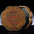 A rare ming qiangjin and tianqi lacquer 'dragon' octafoil box and cover, jiajing period (1522-1566)