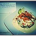 Tartare de surimi fruité, nuage de fromage frais basilic et crumble de parmesan