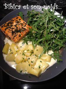 Saumon au basilic et pommes de terre à la cancoillotte