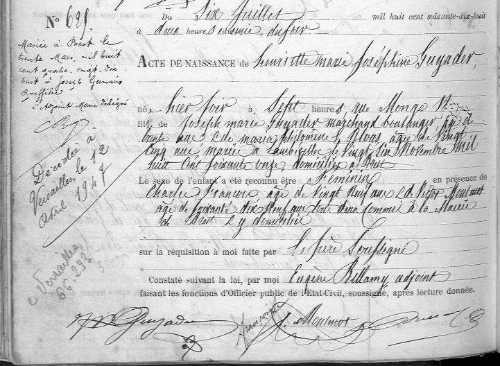 1878 le 5 juillet à Brest N de Henriette Joséphine Guyader