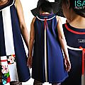 MOD 420B robe bleu marine blanc rouge fleurie chic habillée made in France graphique 70's