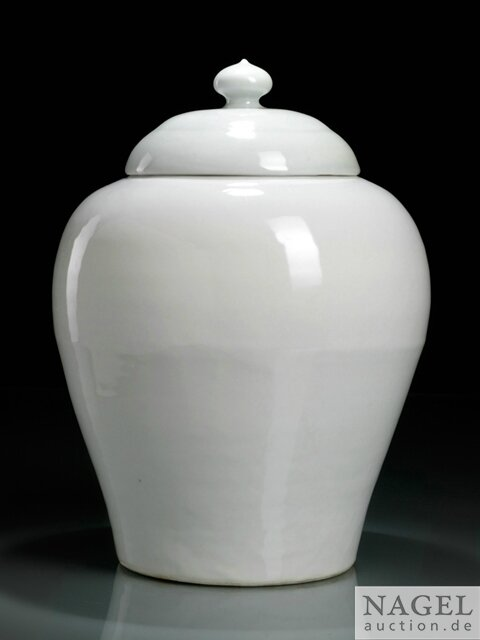 A white-glazed jar and cover, China, Yongle period (1403-1425)