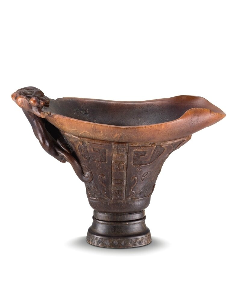 An archaistic rhinoceros horn 'Chilong' libation cup, 17th century