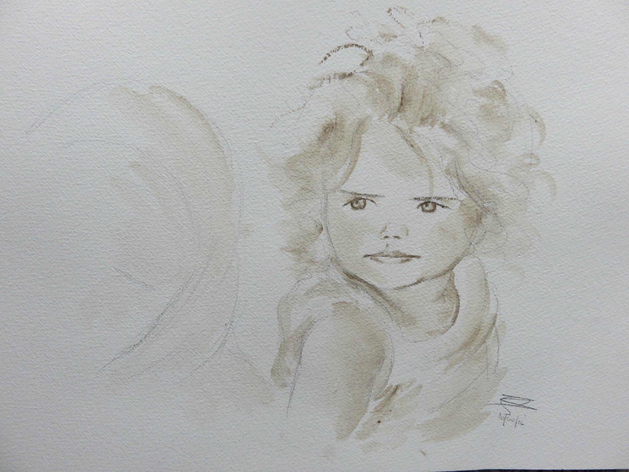 Petite Fille à Laquarelle Alexscrappatouille
