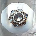 Bague fleur doyel perles crystal facettées grises strass crystal métal couleur argenté ajustable