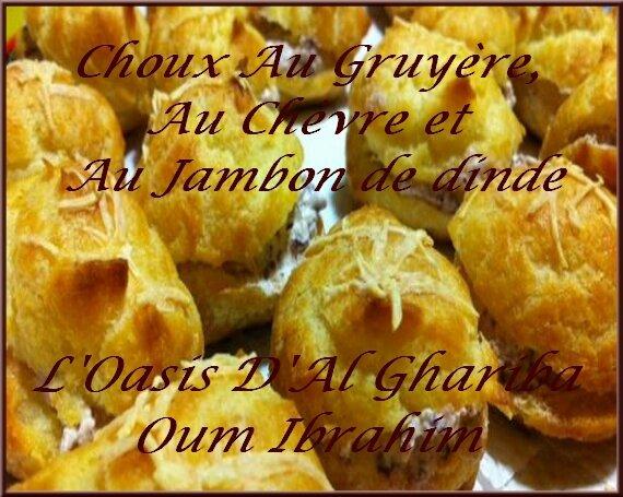 CHOUX AU GRUYERE, AU FROMAGE DE CHEVRE ET AU JAMBON DE DINDE. FRANCE