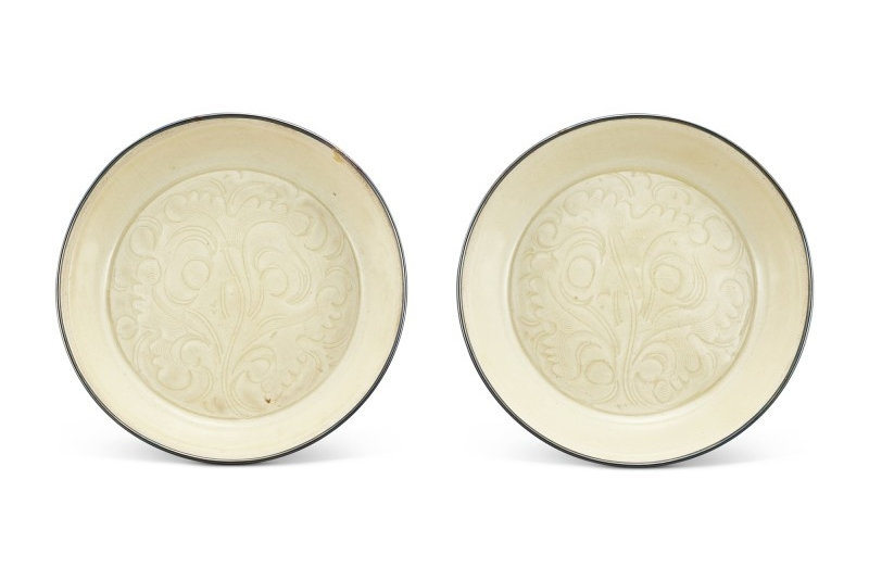 A pair of Ding-type carved 'floral' dishes Northern Song Dynasty