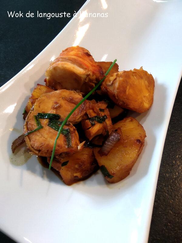 wok de langoustes à l'ananas