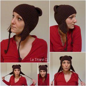 Bonnet péruvien Ourson chocolat adulte crochet accessoire hiver unique