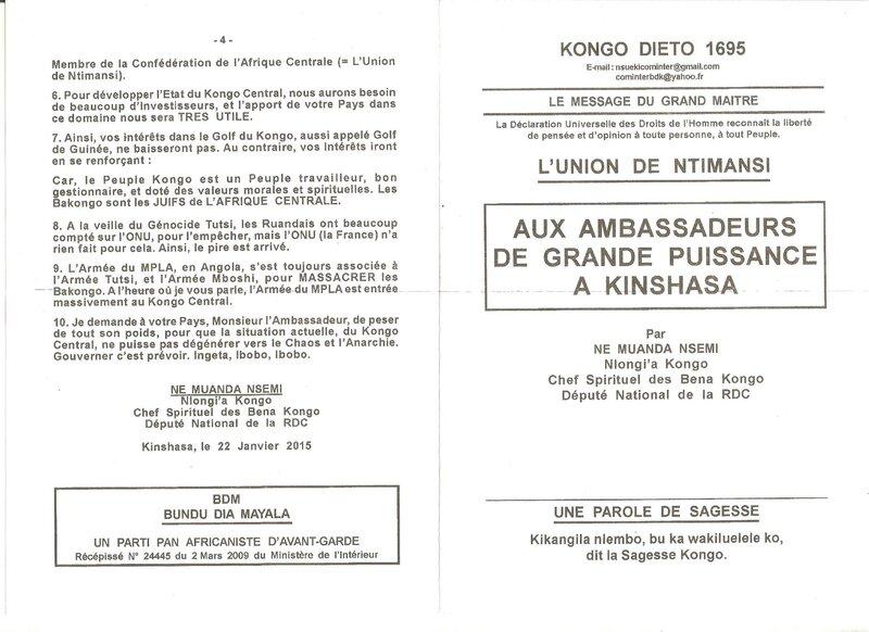 AUX AMBASSADEURS DE GRAND PUISSANCE A KINSHASA a