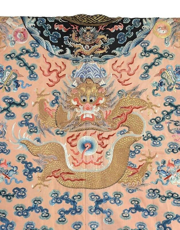 A rare embroidered Imperial apricot ground twelve symbols dragon robe, jifu, 19h century4