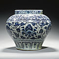 A large and rare blue and white 'Peony' jar, guan, Yuan dynasty, 13th-14th century