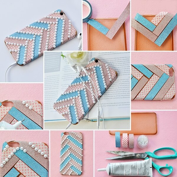 600-How to DIY a Fashion Washi Tape Phone Case with White Pearls Decorated