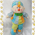 doudou_peluche_clown_garcon_bleu_jaune_orange_noeud_vert_mgm