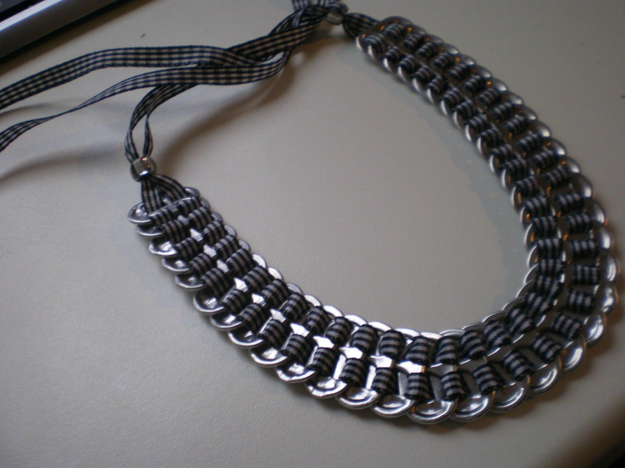 collier ruban noir/blanc