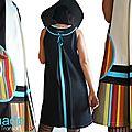 Robe trapèze Graphique Noir/ Ecru & Turquoise à rayures multicolores à Imprimé bayadère style transat