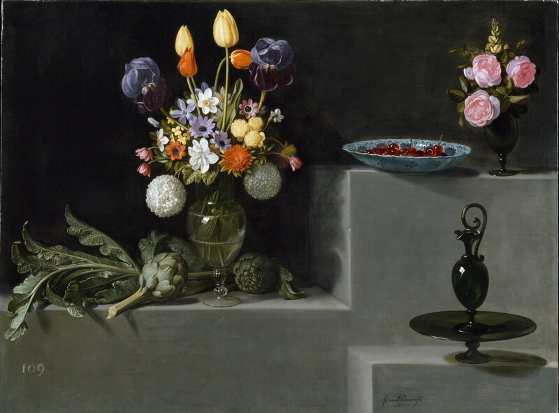 Still Life with Artichokes, Flowers and Glass Vessels