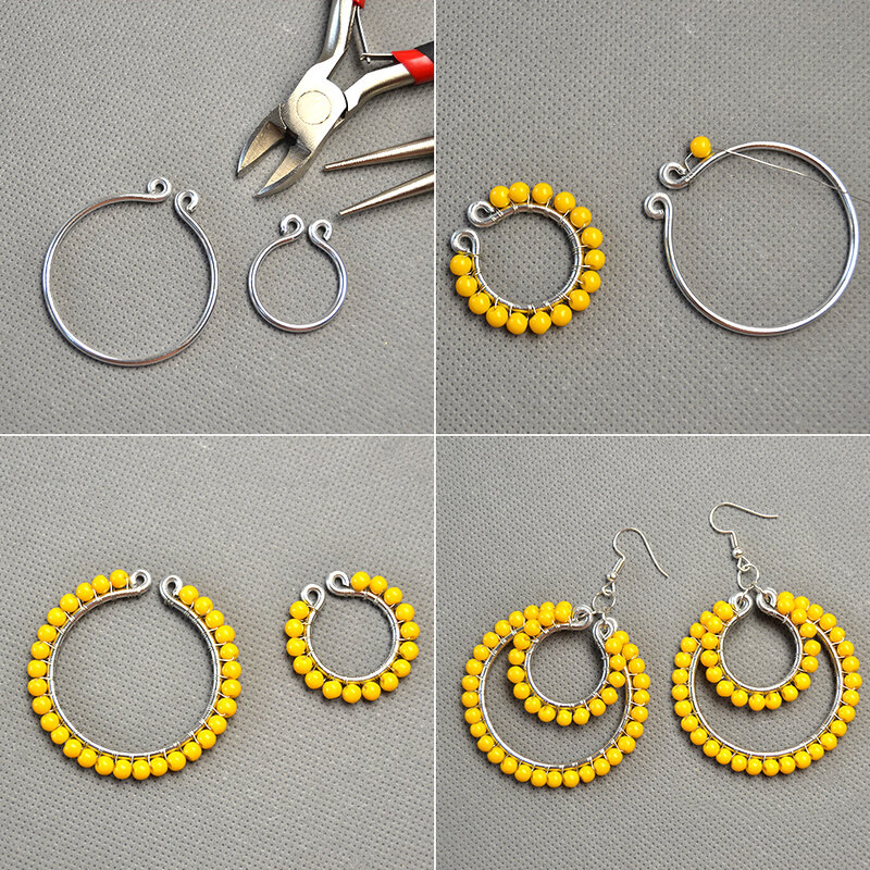 PandaHall-DIY-Design-on-Orange-Glass-Beads-Wire-Wrapped-Hoop-Earrings-2