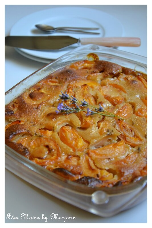 Clafoutis abricots lavande et sucre coco