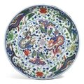 A wucai 'Dragon and Phoenix' dish, Kangxi mark and period