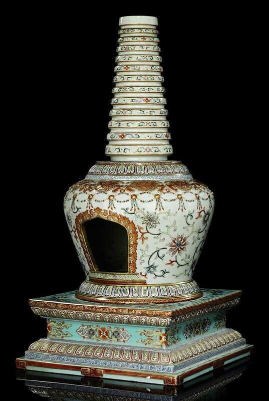 A rare famille rose white-ground model of a buddhist stupa, Qianlong period (1736-95)