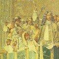 la tribune des musiciens dirigée par Lully (tapisserie manufacture des Gobelins) XVIIIe