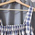 Robe champêtre en coton à carreaux bleus (3)